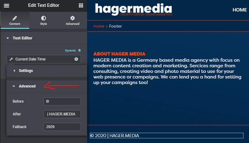HAGER MEDIA elementor-dynamic-date-field-advanced-stettings How To Add Dynamic Copyright Date & Auto Update Current Year In WordPress Footer How To's News