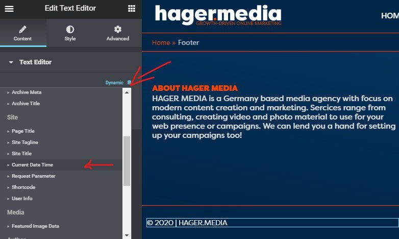HAGER MEDIA elementor-dynamic-date-field How To Add Dynamic Copyright Date & Auto Update Current Year In WordPress Footer How To's News