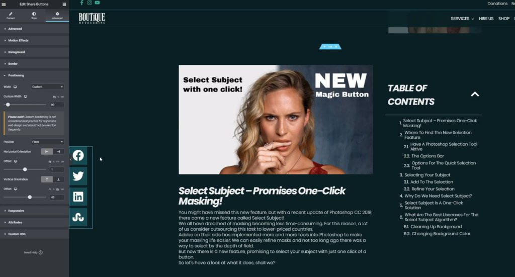 HAGER MEDIA change-custom-width-of-floating-bar-1024x551 Schwebende Share Button Leiste in deinen Wordpress Posts einbinden How To's [de]  Wordpress Elementor